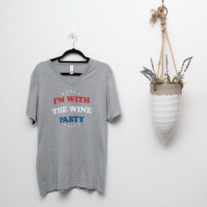 "Large grey ""I'm with the Wine Party"" shirt"